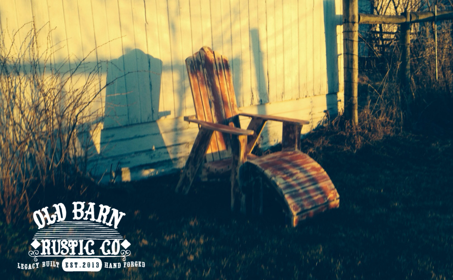 "Farmhouse Adirondack Chair ""Classic Sunset Photo"" in Old America Red Finish"