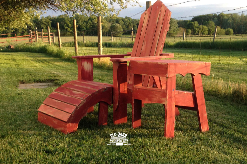 Rustic Adirondack Chairs in The Sunset